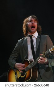 KYIV, UKRAINE - MARCH 2, 2009: James Blunt, performs live in concert at Sport Palace, on March 2, 2009, in Kiyv, Ukraine.