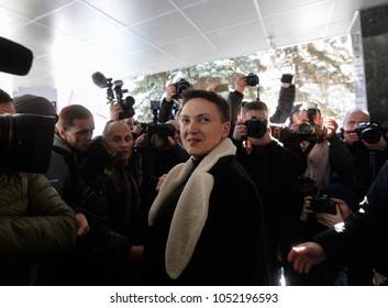 KYIV, UKRAINE- March 22, 2018: Ukrainian lawmaker Nadiya Savchenko surrounded by journalists near the Main Department of the Security Service of Ukraine.