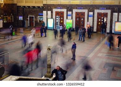 KYIV, UKRAINE - MARCH 22, 2018: people in the hall of Kyiv-Pasazhyrskyi railway station.