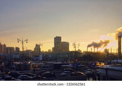 KYIV, UKRAINE - MARCH 22, 2018: view from the window of the hall Kiev-Pasazhyrskyi railway station.