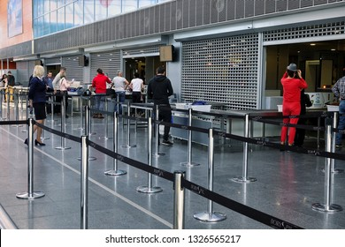 KYIV, UKRAINE - MARCH 22, 2018: Security Checkpoint of the international airport Borispol: A new terminal for the departure of aircraft. Topic of air travel and tourism.