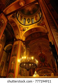 Kyiv, Ukraine, - March. 23. 2014: interior of Pyrohoshcha Dormition of the Mother of God Church, an Orthodox church in Kiev in the historical neighbourhood Podil