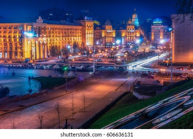 KYIV, UKRAINE - MARCH 23, 2017: Maidan Nezalezhnosti (literally: Independence Square) is the central square of the capital city of Ukraine with people in the night time.