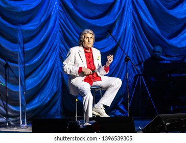KYIV, UKRAINE - March 23, 2019: Toto Cutugno with Lords of the sound orchestra. Concert hall Palace Ukraine