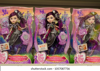 Kyiv, Ukraine - March 24, 2018: Ever After High Dolls for sale in the Supermarket Stand.