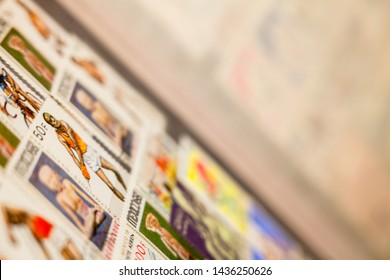 Kyiv, Ukraine -  March 24, 2019: Collection of Mexican and other stamps in the album. Collection of stamps. Philately.