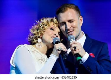 KYIV, UKRAINE - MARCH 29, 2017: Concert of Latvian singer Laima Vaikule