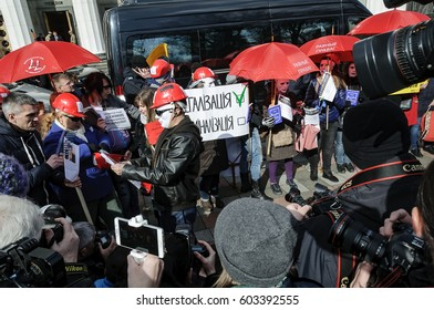KYIV, UKRAINE - MARCH 3, 2017:  Picket of sex workers for the abolition of fines in the Administrative Code