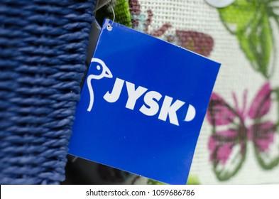 Kyiv, Ukraine - March 31, 2018: JYSK price tag.