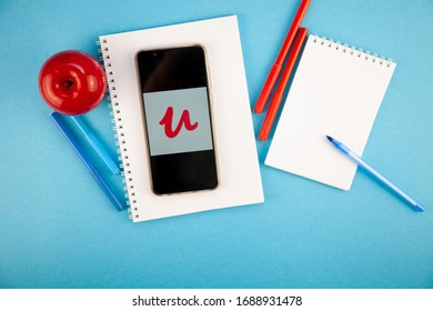 Kyiv, Ukraine - March 31, 2020: UDEMY page site app on mobile phone, udemy for online courses, online education. Udemy is online learning platform and teaching marketplace aimed at professional adults