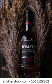 KYIV, UKRAINE - MARCH 4, 2019: Tomatin 12 Year Old Sherry Finish. Tomatin was once the largest distillery in Scotland with 23 stills and a production capacity of 12 million litres of alcohol per year