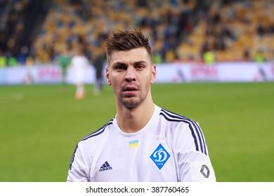 KYIV, UKRAINE - MARCH 5, 2016:  Ukrainian Football Premier League game. Dynamo Kyiv against Dnipro Dnipropetrovsk. Aleksandar Dragovic of FC Dynamo Kyiv