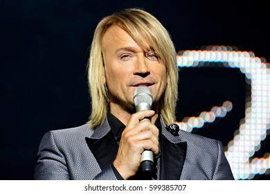 KYIV, UKRAINE - MARCH 5, 2017: Concert of Ukrainian singer Oleg Vinnik in Kiev