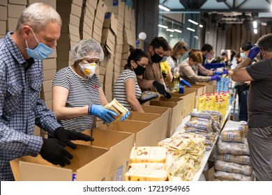 KYIV, UKRAINE - May. 02, 2020: Coronavirus epidemic in Ukraine and help to the poor. Thousands food packages from the Poroshenko Foundation sent to pensioners and people with disabilities