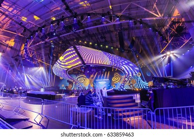 KYIV, UKRAINE - MAY 04, 2017:A view of main stage of ESC (EUROVISION) on the  during 2nd rehearsal 1st semi-final in Kyiv, Ukraine.