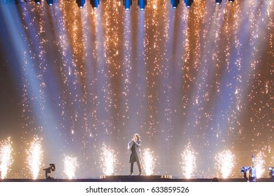 KYIV, UKRAINE - MAY 04, 2017:Isaiah the representative of Australia at ESC (EUROVISION) acts on the main stage during 2nd rehearsal 1st semi-final in Kyiv, Ukraine.