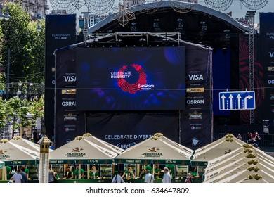 KYIV, UKRAINE - MAY 06, 2017: Eurovision village for international song competition Eurovision - 2017 on Kreshatyk Street.