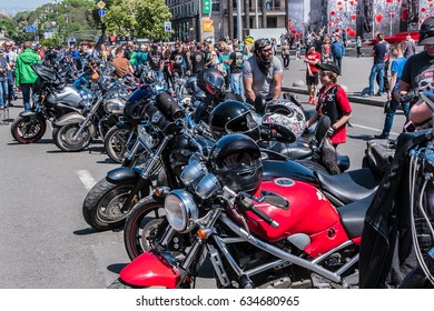 "KYIV, UKRAINE - MAY 06, 2017: About 400 bikers of popular Ukrainian clubs staged a run in Kiev under the slogan ""Freedom is our religion"". Motorcycle parade on Independence Square."