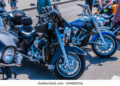 """KYIV, UKRAINE - MAY 06, 2017: About 400 bikers of popular Ukrainian clubs staged a run in Kiev under the slogan """"Freedom is our religion"""". Motorcycle parade on Independence Square."""
