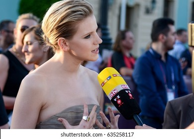 KYIV, UKRAINE - MAY 07, 2017: Levina the representative of Germany at ESC (EUROVISION) on the at the official opening of the Eurovision Song Contest (Red Carpet) in Kyiv, Ukraine.