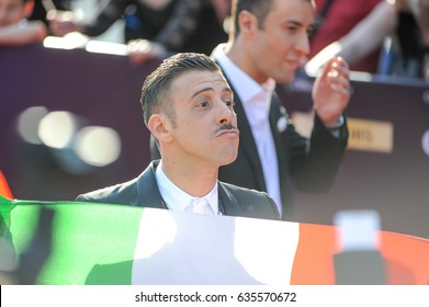 KYIV, UKRAINE - MAY 07, 2017: Francesco Gabbani the representative of Italy at ESC (EUROVISION) at the official opening of the Eurovision Song Contest (Red Carpet) in Kyiv, Ukraine.