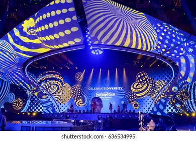 KYIV, UKRAINE - MAY 07, 2017: The band O.Torvald the representative of Ukraine at ESC (EUROVISION) acts on the main stage during 2nd rehearsal Big Five + Ukraine.