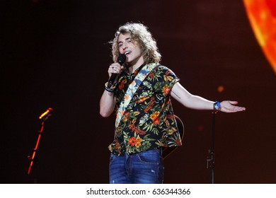 KYIV, UKRAINE - MAY 08, 2017: Manel Navarro the representative of Spain at ESC (EUROVISION) acts on the main stage during Semi-Final 1 Dress rehearsal 1 in Kyiv, Ukraine.