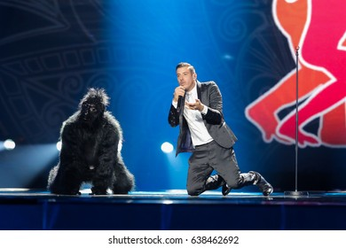 KYIV, UKRAINE - MAY 08, 2017:   Francesco Gabbani from Italy at the first semi-final rehearsal during Eurovision Song Contest, in Kyiv, Ukraine