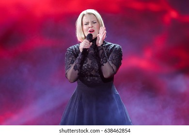 KYIV, UKRAINE - MAY 08, 2017:   Norma John from Finland at the first semi-final rehearsal during Eurovision Song Contest, in Kyiv, Ukraine