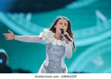 KYIV, UKRAINE - MAY 08, 2017:   Lindita from Albania at the first semi-final rehearsal during Eurovision Song Contest, in Kyiv, Ukraine