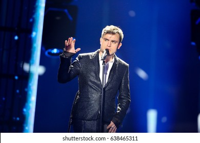 KYIV, UKRAINE - MAY 08, 2017:   Omar Naber from Slovenia at the first semi-final rehearsal during Eurovision Song Contest, in Kyiv, Ukraine