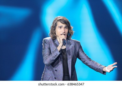 KYIV, UKRAINE - MAY 08, 2017:   Isaiah  from Australia at the first semi-final rehearsal during Eurovision Song Contest, in Kyiv, Ukraine
