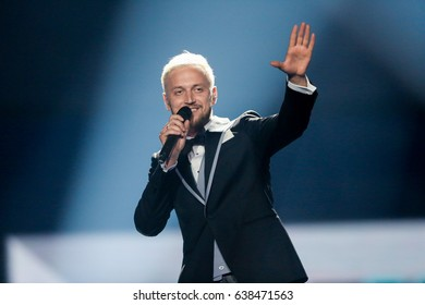 KYIV, UKRAINE - MAY 08, 2017:   Sunstroke Project from Moldova at the first semi-final rehearsal during Eurovision Song Contest, in Kyiv, Ukraine
