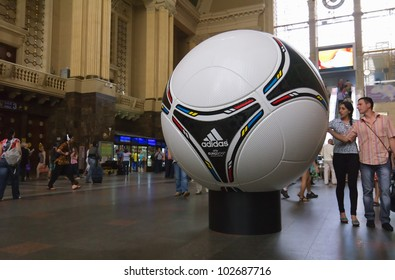 KYIV, UKRAINE - MAY 08: tango 12, the official matchball of EURO 2012 POLAND - UKRAINE, on the Central Railway station in Kyiv, Ukraine on May 08, 2012. Kiev gets ready to host UEFA EURO in 2012