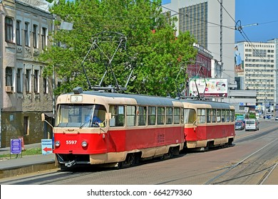 KYIV, UKRAINE - MAY 1 - Two-car Tatra T3 tram, standing in the city centre, near Kyiv Central railway station, on May 1, 2017 in Kyiv (Kiev), Ukraine