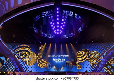 KYIV, UKRAINE - MAY 10 2017: A view of main stage of ESC (EUROVISION) semi-final 2 dress rehearsal 1(incl. 3 Acts from Big 5+Host) in Kyiv, Ukraine.