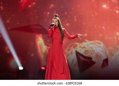 KYIV, UKRAINE - MAY 10, 2017: Fusedmarc from Lithuania at the second semi-final rehearsal during Eurovision Song Contest, in Kyiv, Ukraine