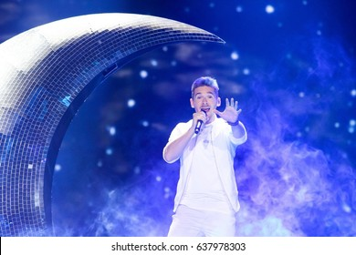 KYIV, UKRAINE - MAY 10 2017:Nathan Trent the representative of Austria at ESC (EUROVISION) acts on the main stage during semi-final 2 dress rehearsal 1(incl. 3 Acts from Big 5+Host) in Kyiv, Ukraine.