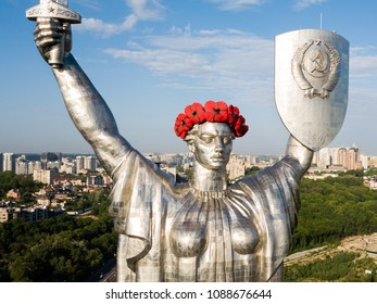 Kyiv, Ukraine - MAY 10, 2018: The Motherland monument. Symbol of Kyiv (Kiev). The National Museum of the History of Ukraine in the Second World War. Kyiv skyline, cityscape. Poppy wreath. Victory Day.