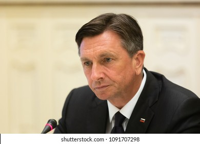 KYIV, UKRAINE - May 11, 2018: President of the Republic of Slovenia Borut Pahor during a meeting with President of Ukraine Petro Poroshenko in Kyiv