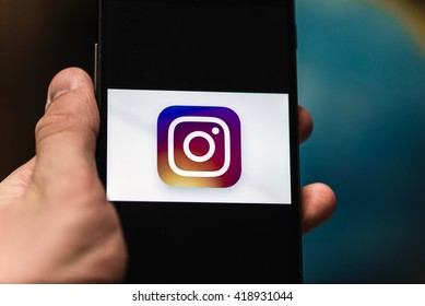 Kyiv, Ukraine - May 11th, 2016: Smart Phone with Instagram Social Network Logo on Screen