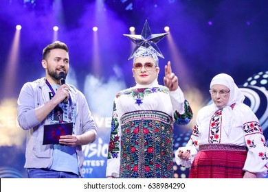 KYIV, UKRAINE - MAY 12, 2017: Verka Serduchka former Eurovision winner acts on the main stage during Grand Final Dress Rehearsal 1