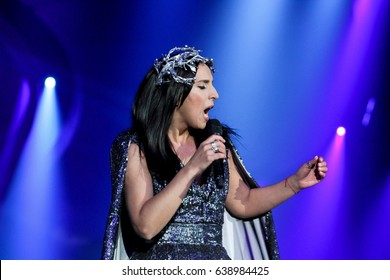 KYIV, UKRAINE - MAY 12, 2017: Jamala of Ukraine former Eurovision winner acts on the main stage during Grand Final Dress Rehearsal 1