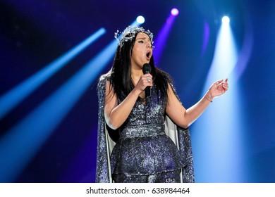 KYIV, UKRAINE - MAY 12, 2017: Jamala of Ukraine former Eurovision winner acts on the main stage during Grand Final Dress Rehearsal 1