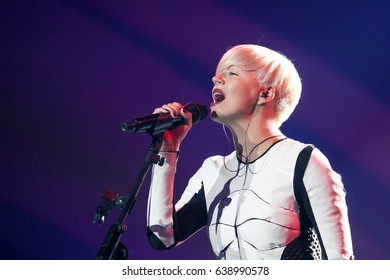 KYIV, UKRAINE - MAY 12, 2017: Popular Ukrainian electronic band ONUKA acts on the main stage during Grand Final Dress Rehearsal 1