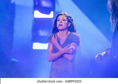KYIV, UKRAINE - MAY 12, 2017: Ruslana of Ukraine former Eurovision winner acts on the main stage during Grand Final Dress Rehearsal 1