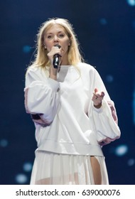 KYIV, UKRAINE - MAY 12, 2017: Kasia Mos from Poland at the grand final rehearsal during Eurovision Song Contest, in Kyiv, Ukraine