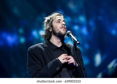 KYIV, UKRAINE - MAY 12, 2017: Salvador Sobral the representative of Portugal at ESC (EUROVISION) acts on the main stage during Grand Final Dress Rehearsal 1