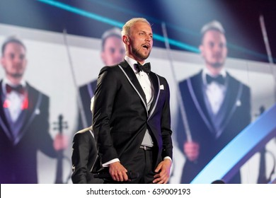 KYIV, UKRAINE - MAY 12, 2017: Sunstroke Project the representative of Moldova at ESC (EUROVISION) acts on the main stage during Grand Final Dress Rehearsal 1