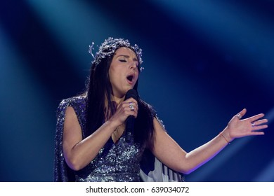 KYIV, UKRAINE - MAY 12, 2017: The winner of ESC 2016 Jamala at the grand final rehearsal during Eurovision Song Contest, in Kyiv, Ukraine